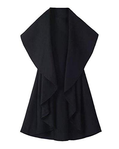 Donne Eleganti Gilet Veste Poncho Cape Giacca Senza Maniche Cardigan Cappotto Nero