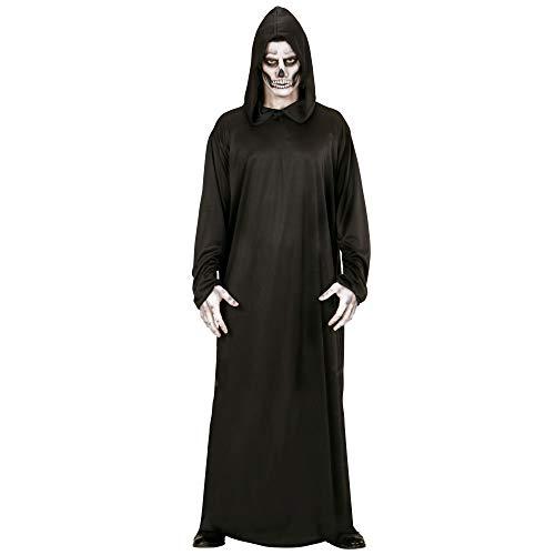 Widmann 00012 - Erwachsenenkostüm Sensenmann, Robe mit Kapuze, Größe M, schwarz