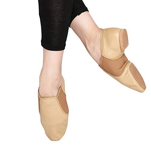 LFEWOX Ballettschuhe Leder Breathable Flache Schuhe Split Schuhe Tanzschuhe Damen Gymnastik Yoga Schuhe Damen Kinder Damen Jazz Coach Training Schuhe Schwarz Größe,Brown,EU44=270m