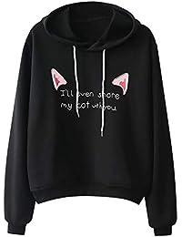 Damen Hoodie Langarmshirt Katze Brief Drucken Kapuzenjacke Mädchen Herbst Bluse Oberteile Dünn Pulli Sport Kapuzenpullover Sweatshirt