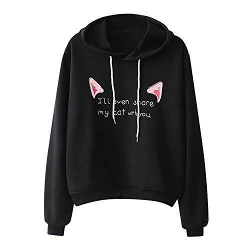 Xmiral Damen Hoodie Pullover Mädchen Lässige Lange Ärmel mit Kapuze Cat Print Brief Sweatshirt...