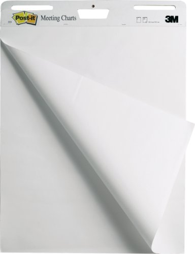 3M Post-it Super Sticky Meeting Flip Chart, A1 Size Sheets (63.5 x 77.5 cm) - White, Pack of 2 - Best Price