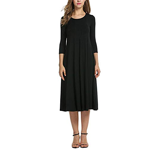 Promozione vestito donna elegante,donna autunno,donna casuale metà manica sciolto vestito le signore sera lungo maxi vestito