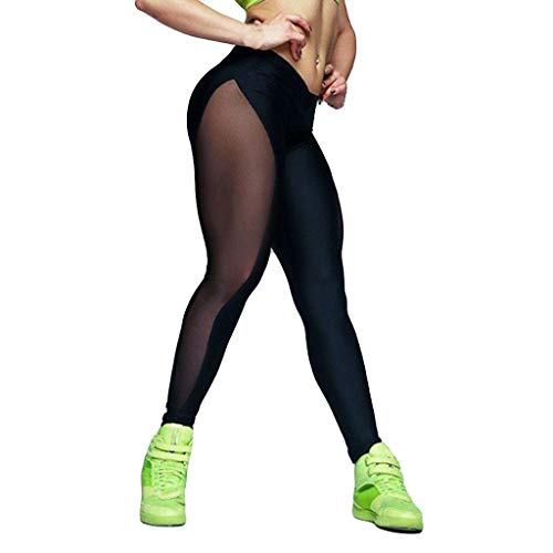 Damen Yogahose Mit SteigbüGel, Weant Frauen Yoga Hose Spleißen Mesh Transparent High Waist Sport Yogahose Leggings Sporthose Jogginghose Workout Fitness Caprihose Trainingshose S-XL -