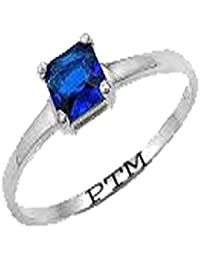 PTM Certified Natural 3.25 Ratti or 3 Carat to 10.25 Ratti or 9.35 Carat Blue Sapphire (Neelam) Astrological Gemstone BIS Hallmark 925 Sterling Silver Ring for Men & Women