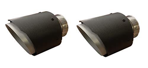 CARTUNER® Duplex Carbon Auspuffblenden Endrohre Auspuff 100mm Anschluß 60-65mm Exclusiv