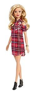 Barbie Fashionista - Muñeca rubia con ondas y vestido a cuadros (Mattel GBK09)