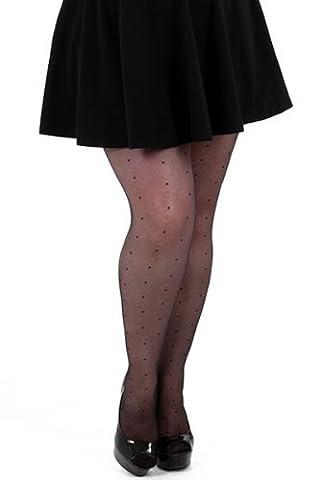 Pamela Mann - Collant grande taille plumetis noir - 5 (48-54)