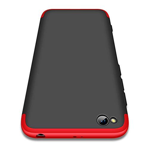 Compatible Xiaomi Redmi Go Funda,360 Grados A Prueba de Choques Protección Cubierta 3 in 1 PC Hard Skin Carcasa ultrafina Case Cover Para Xiaomi Redmi Go[Negro Rojo]+Protector de pantalla 2018
