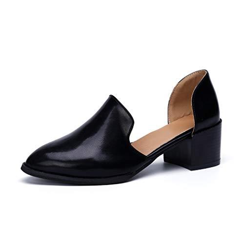 Damen Pumps Schuhe Pointed Slipper Plateau Halbschuhe Elegant Leder Kurze mit Absatz 5.5 cm Frauen Bequem Uniform Sandalen Sommer Schwarz 39