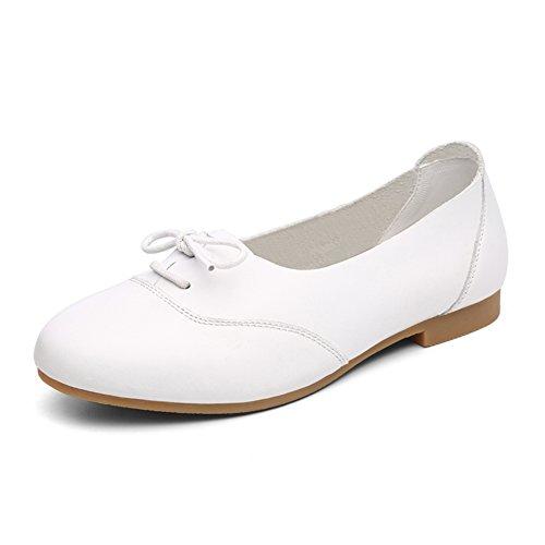 Petites chaussures blanches/Chaussures de fond plat/Étudiants coréens rond talon plat peu profond casual chaussures femmes A