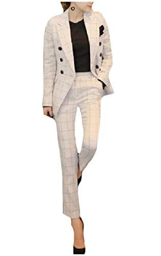 CuteRose Women's Double-Breasted Skinny Work OL Panelled Blazer Suits White XS -