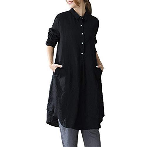 ☸Beikoard☸Damen Langarmshirts Damen Langarm Einfarbig Revers Long Top Blusen -Mode Frauen Tunika Top Bluse Shirt Plus Größe Baumwolle Baggy Pullover