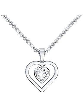 Herzkette Silber 925 Kette Zirkonia Stein Damen zwei Herzen 2 +GRATIS Etui mit Gravur Echtsilber Herzanhänger...