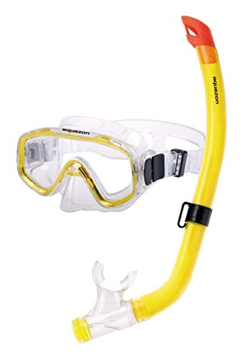 AQUAZON FUN Preisgünstiges Schnorchelset, Tauchset, Schwimmset, mit Schnorchelbrille und Schnorchel für Kinder von 3-7 Jahren , colour:gelb transparent