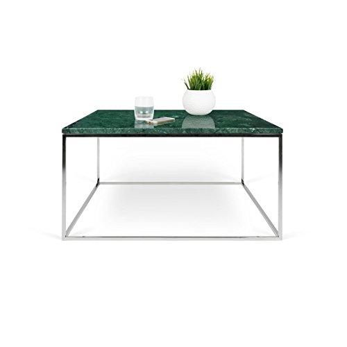 Paris Prix - Temahome - Table Basse Gleam 75cm Marbre Vert & Métal Chromé