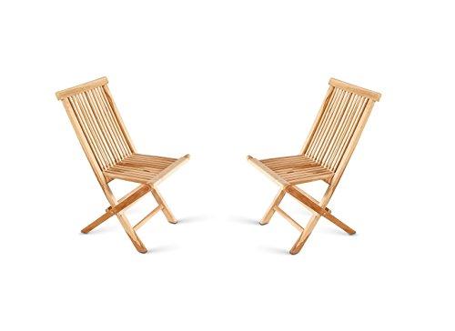 SAM® SAM® Sparset: 2x Klappstuhl, Balkon-stuhl, aus massivem Teakholz Massivholz Gartenstuhl Klappstuhl mit Verstärkungen an den Beinen