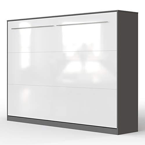 SMARTBett Standard Armoire Lit escamotable Lit Rabattable Lit Mural Ressort pneumatique (Anthracite/Blanc Brillant, 140 Horizontal)