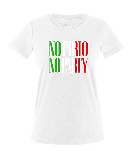 Luckja EM 2016 Trikot Italien Fanshirt No Pirlo No Party EM03 Damen Rundhals T-Shirt