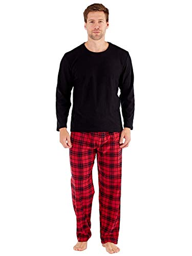Herren Harvey James Geschenkverpackung Schlafanzüge Fleece Top Karo Flanell Hose - Rot, Medium