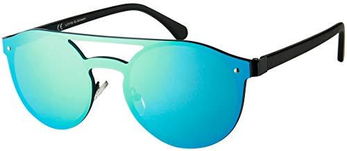 La Optica B.L.M. UV400 CAT 3 Unisex Damen Herren Sonnenbrille Pilotenbrille Round Randlos Kreis - Metal Schwarz (Gläser: Grün verspiegelt)