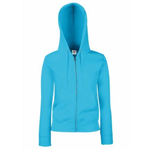 Kapuzen Xl Sweatshirt Jersey (Fruit Of The Loom Lady-Fit Damen Kapuzenjacke / Sweatshirt-Jacke mit Kapuze XL,Blau - Azure Blue)