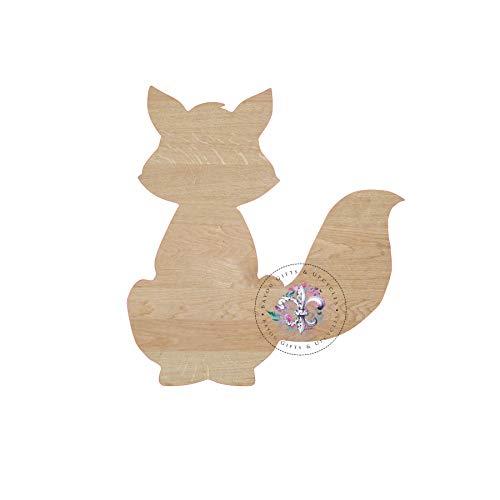 CPWood Fox Holz-Ausschnitt, unlackiert, Fuchs, Holz-Formen, Fuchs, Kinderzimmerschild, Holz-Formen, Holz-Tür-Aufhänger, Form blanko