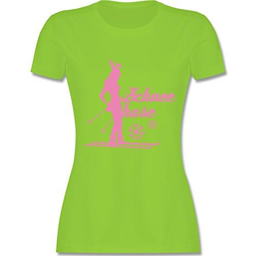 Après Ski - Ski Schneehase - tailliertes Premium T-Shirt mit Rundhalsausschnitt für Damen Hellgrün