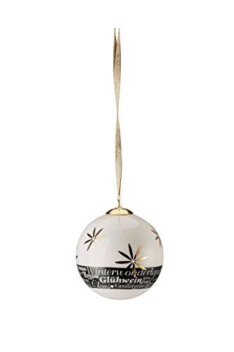 Hutschenreuther Merry Christmas Shiny Gold Grande Boule en Porcelaine étoiles/Ø 8 cm, Porcelaine, 9 x 9 x 10 cm