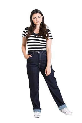 Hell Bunny Carpenter Denim Jeans 40er Jahre 50er Jahre Vintage Retro Rockabilly Hose - Navy Blau (XS - DE 34) Carpenter Style Jeans