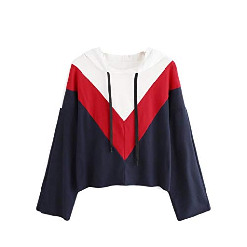 TWIFER Damen Winter Colorblock Kapuzenpullover Hoodie Sweatshirt Sweater