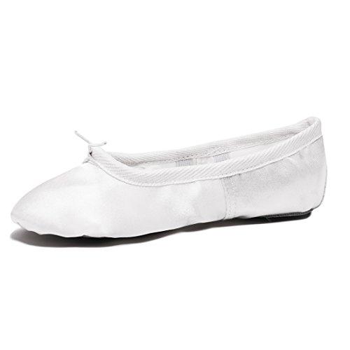Ballettschuhe Mädchen Tanzschuhe ballettschläppchen Damen Bequem Spitzenschuhe Kinder Weiß 35 - 6