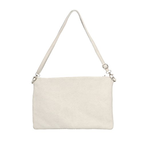 Chicca Borse Borsa a mano in pelle 30x22x2 100% Genuine Leather Bianco