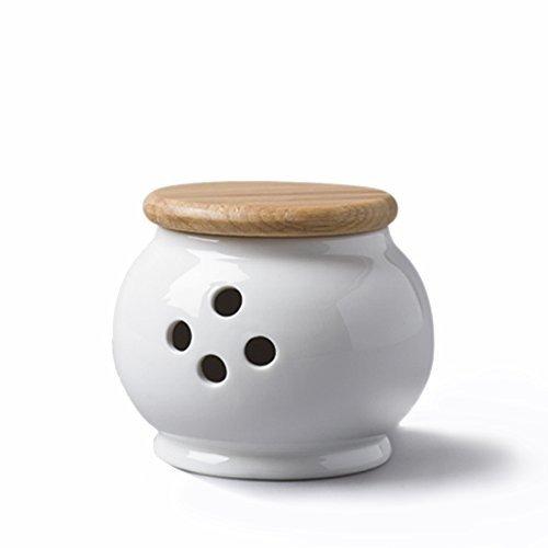 CKS Knoblauchtopf mit Holzdeckel (10x9cm) - White Ceramic