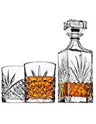 Dekanter-Set für Whiskey Whisky Scotch Bourbon oder Wein, inkl. 2Glas Whisky Gläser-Irish Schnitt (Irish Dekanter-set)