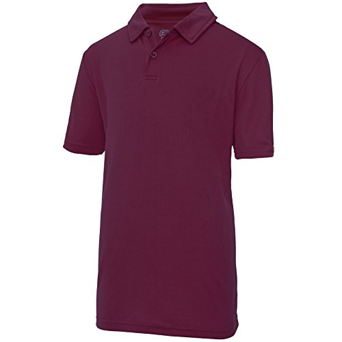 Just Cool Kinder Unisex Sport Polo Shirt Burgunder
