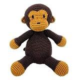 natureZOO Mr. Monkey Teddy Bear Häkel-Tier AFFE 20 cm für Mädchen und Junge, braun gehäkelt 100% Öko-zertifiziertes Bambusgarn ab Geburt