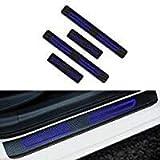 YUHUS Protector del umbral de la Puerta , Placas de protección de umbral Cubierta de umbral de Fibra de Carbono Etiqueta Anti-rasguño Antideslizante Diseño de Coche 4 Piezas Azul, Placa de protección