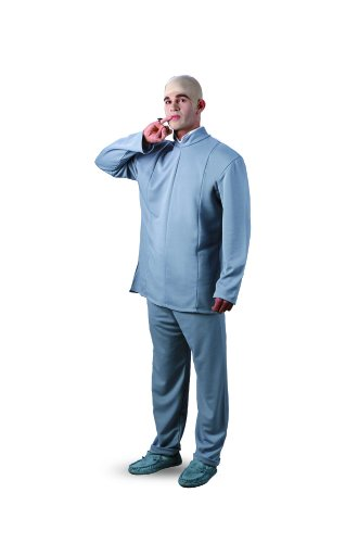 Dr Evil Costume - Size 42-46 Chest (Jacket, Trousers & Bald Cap)