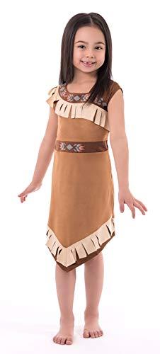 Prinzessin Kostüm Indische Stammes - Little Adventures Mädchen Kostüm Indianer Prinzessin Medium Age 3-5 braun