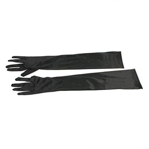 Fingerspitzen Handschuh Elastischer Satin Brauthandschuhe Party Abendhandschuhe handschuhe Winter Frühling Sommer Schwarz (Schwarze Handschuhe Lang)