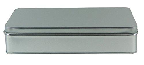 Scharnier Deckel Vorratsbehälter (mikken - 1 x Vorratsdose, eckige Metalldose aus Weissblech mit Stülp-Deckel (Farbe: Silber), ideal als Gebäck-, Keks- und Tabakdose verwendbar (20 x 13 x 4,5 cm))