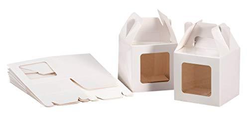 Set 20 pz scatoline portadolci in carta cm. 8 x 8 x 8 con finestra PE colore bianca
