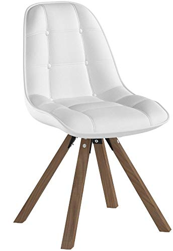 Duhome 2er Set Esszimmerstuhl aus Kunstleder Weiß Farbauswahl Retro Design Stuhl mit Rückenlehne Holzbeine WY-466