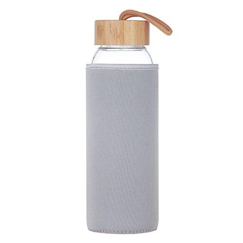 Life4u 1 L Sport Trinkflasche Glas Große Klappe Wasser Flasche Mit Bambus Deckel 1000 ml / 1 Litre (Waschen Klappe)