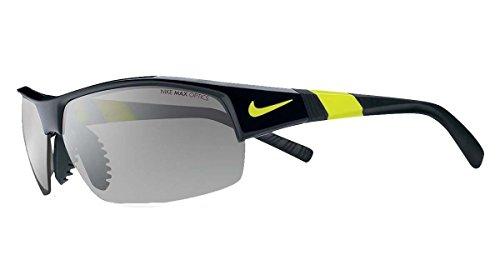 Nike show x2 - occhiali da sole da uomo con lenti lampeggianti, colore: nero/argento