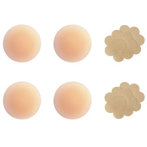 Gmumu® Ultra Dünne Damen Nippel Abdeckungen Wiederverwendbar und Selbstklebende Nippel Cover aus Silikon Aufkleber Nippelpads - 2 Paar