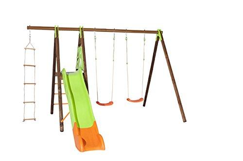 Trigano Schaukel Xalto aus Holz und Metall mit Plattform, Rutsche, Strickleiter und 2 Schaukelsitze