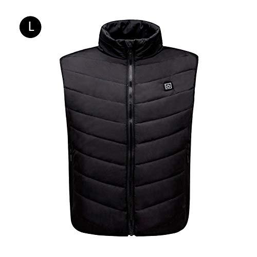 LeKing - Chaleco de Fiebre para Hombre, energía móvil USB Recargable cálido plumón de algodón, Negro, Large