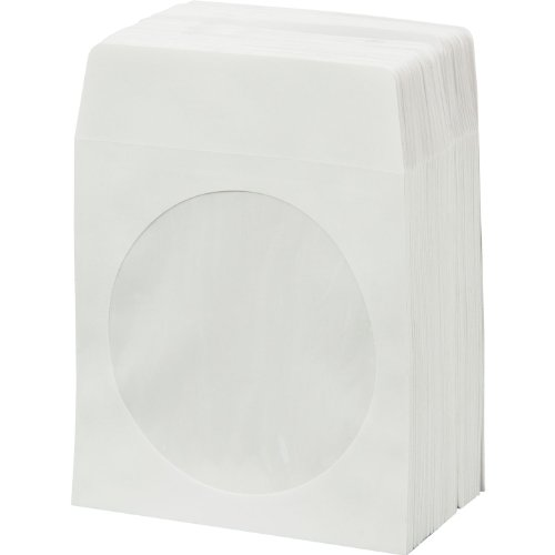 BestDuplicator White Cd Dvd Paper Sleeves Envelopes With Flap And Clear Window - 100Pack